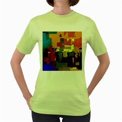 Abstract Vibrant Colour Women s Green T Shirt