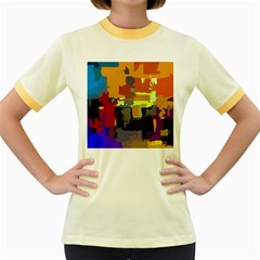 Abstract Vibrant Colour Women s Fitted Ringer T Shirts