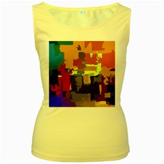Abstract Vibrant Colour Women s Yellow Tank Top