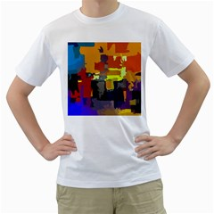 Abstract Vibrant Colour Men s T-Shirt (White) (Two Sided)