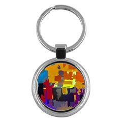 Abstract Vibrant Colour Key Chains (Round)