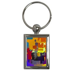 Abstract Vibrant Colour Key Chains (Rectangle)