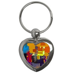 Abstract Vibrant Colour Key Chains (heart)