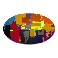 Abstract Vibrant Colour Oval Magnet