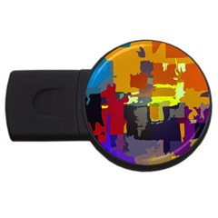 Abstract Vibrant Colour USB Flash Drive Round (2 GB)