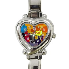 Abstract Vibrant Colour Heart Italian Charm Watch