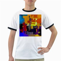 Abstract Vibrant Colour Ringer T-Shirts
