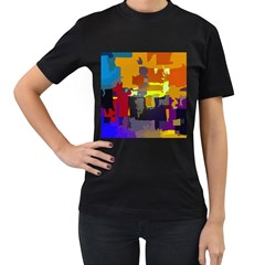 Abstract Vibrant Colour Women s T-Shirt (Black) (Two Sided)