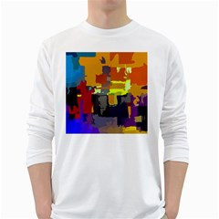 Abstract Vibrant Colour White Long Sleeve T-Shirts