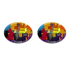 Abstract Vibrant Colour Cufflinks (Oval)