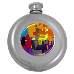 Abstract Vibrant Colour Round Hip Flask (5 Oz)