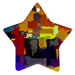 Abstract Vibrant Colour Star Ornament (Two Sides)