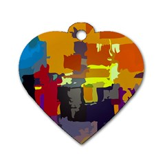 Abstract Vibrant Colour Dog Tag Heart (Two Sides)