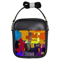 Abstract Vibrant Colour Girls Sling Bags