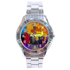 Abstract Vibrant Colour Stainless Steel Analogue Watch
