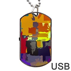 Abstract Vibrant Colour Dog Tag Usb Flash (one Side)