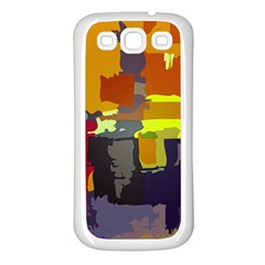 Abstract Vibrant Colour Samsung Galaxy S3 Back Case (White)