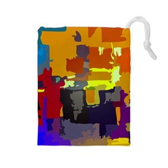 Abstract Vibrant Colour Drawstring Pouches (large)