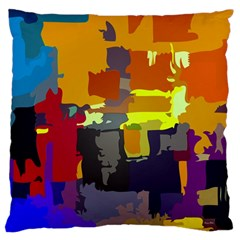 Abstract Vibrant Colour Large Flano Cushion Case (one Side)