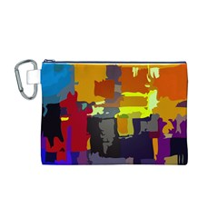 Abstract Vibrant Colour Canvas Cosmetic Bag (m)