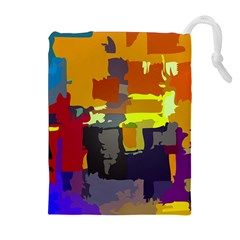 Abstract Vibrant Colour Drawstring Pouches (Extra Large)