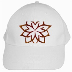 Abstract Shape Outline Floral Gold White Cap