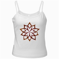 Abstract Shape Outline Floral Gold White Spaghetti Tank