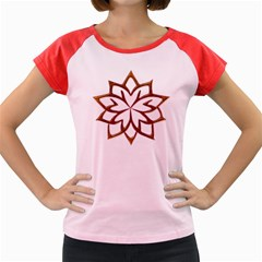 Abstract Shape Outline Floral Gold Women s Cap Sleeve T Shirt