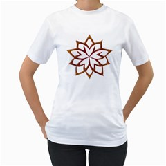 Abstract Shape Outline Floral Gold Women s T-Shirt (White) (Two Sided)