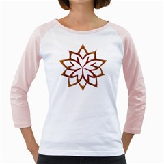 Abstract Shape Outline Floral Gold Girly Raglans