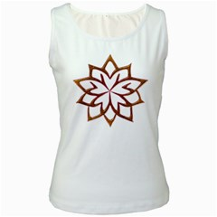 Abstract Shape Outline Floral Gold Women s White Tank Top
