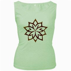 Abstract Shape Outline Floral Gold Women s Green Tank Top