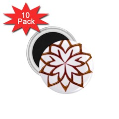 Abstract Shape Outline Floral Gold 1.75  Magnets (10 pack)