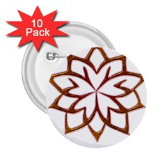 Abstract Shape Outline Floral Gold 2 25  Buttons (10 Pack)