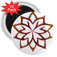 Abstract Shape Outline Floral Gold 3  Magnets (10 Pack)