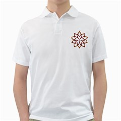 Abstract Shape Outline Floral Gold Golf Shirts