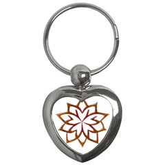 Abstract Shape Outline Floral Gold Key Chains (Heart)
