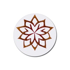 Abstract Shape Outline Floral Gold Rubber Coaster (Round)