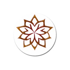 Abstract Shape Outline Floral Gold Magnet 3  (Round)