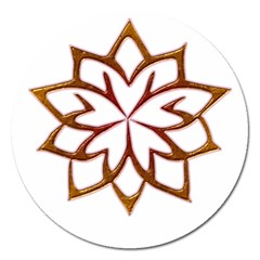 Abstract Shape Outline Floral Gold Magnet 5  (round)