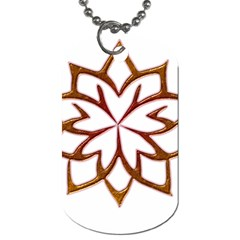 Abstract Shape Outline Floral Gold Dog Tag (One Side)