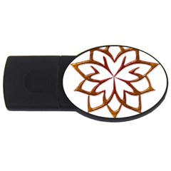 Abstract Shape Outline Floral Gold USB Flash Drive Oval (2 GB)