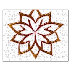 Abstract Shape Outline Floral Gold Rectangular Jigsaw Puzzl