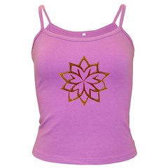 Abstract Shape Outline Floral Gold Dark Spaghetti Tank