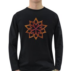 Abstract Shape Outline Floral Gold Long Sleeve Dark T-Shirts