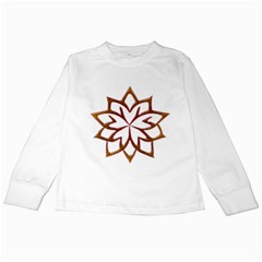 Abstract Shape Outline Floral Gold Kids Long Sleeve T Shirts