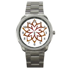 Abstract Shape Outline Floral Gold Sport Metal Watch