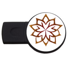 Abstract Shape Outline Floral Gold Usb Flash Drive Round (4 Gb)