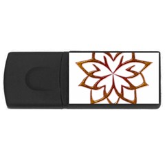 Abstract Shape Outline Floral Gold Usb Flash Drive Rectangular (4 Gb)