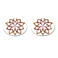Abstract Shape Outline Floral Gold Cufflinks (Oval)